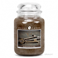 Goose Creek Premium Large Round Scented Candle Jar BURLWOOD & OAK Double Wicked